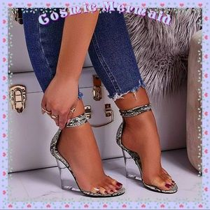 Shoes - 🆕💛🐍Lace Up Snake Perspex Wedge Clear Heels🐍💛